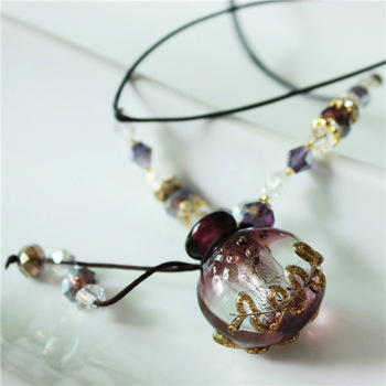 LLN045 Free Shipping crystal beads purple lampwork glass perfume bottle pendant necklace for girls
