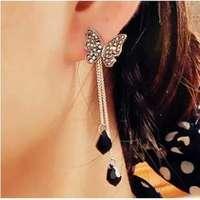 E183 David jewelry wholesale Butterfly full rhinestone tassel long design drop pendant  earring