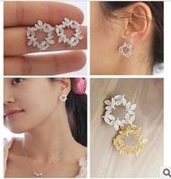 E194 David jewelry wholesale  clover leaves circle stud earring earrings earring earrings cross italina rigant free shipping