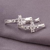 Free shipping wholesale for women's 925 silver earrings 925 silver fashion jewelry rhinestone cross hoop Earrings SE311
