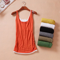 2013 summer women's fashion faux two piece pleated small vest female 01 basic shirt