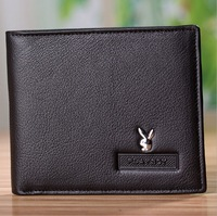 2013 New Men's Leather Wallet Men's Short Black Leather Wallet