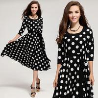 2014 new summer autumn sun hemp long sleeve white dots the woman's dress mid-calf polka dot dress dresses new fashion 2014