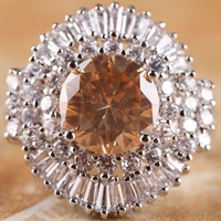 NEW ROUND CUT MORGANITE & WHITE TOPAZ  SILVER RING SIZE 7 R1-06208