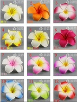 Wholesale - Free Shipping!! 600pcs Hawaiian Plumeria Foam Flowers 3 inch Head Only (6 colors mixed)
