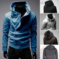 2013 New Mens Casual Oblique Front Zipper Hoodies Tops Sweater Jackets Coats MF-35267