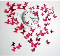 Free shipping !Home Room Art Decorations 72pcs/3size 3colors mixed 3D Butterfly Wall Sticker Decor Pop-up Sticker