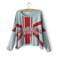 autumn-summer 2013 new women pullover Oneck btwing sleeve Union Jack boy Print sweater women sweater
