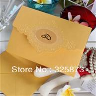Buy Bridal Shower Yellow Paper Wedding Card Invites , Embossing, Hot ...
