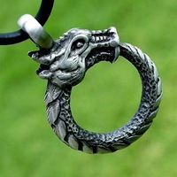 Ouroboros Uroborus Norse Dragon Serpent Snake Eternity Silver Pewter Pendant