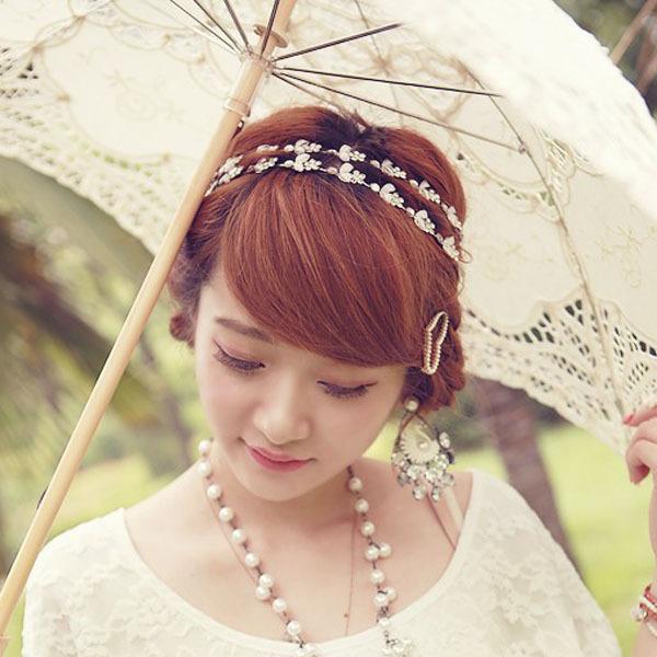 Free Shipping Wholesale and Retail Fashion New Metal Flower Chain Headband Elastic Hair Band Wedding Hairband 2pcs/lot(China (Mainland))