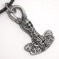 Loki Head Helmet Norse GOD Odin Thor'S Hammer Silver Pewter Pendant