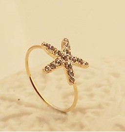 Free Shipping(MOQ 10$ Mix Order)Korean Hot 18KGP Starfish Studded CZ Diamon Exquisite Women Finger Ring  holesale