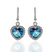 New Arrival Heart Platinum Drop Earrings For women Fashion jewelry K Golden Crystal Earring Nickel Free 18KGP E262