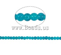 Free shipping!!!Crackle Glass Beads,Jewellery, Round, blue, 4mm, Hole:Approx 1.5mm, Length:31 Inch, 220PCs/Strand