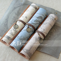 Vintage leather treasure map roll pencil case brief big capacity pencil case pen curtain