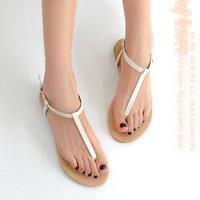 New Roman Flat Sandals For Women Sandals Summer Black White Sweet Ladies Fashon Leisure Shoes