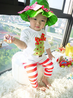 Half sleeves Santa tree top+ pant with stripes Christmas wearing Top quality Baby wearing Wish you Merry Christmas