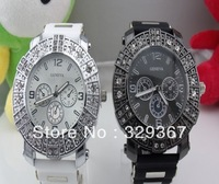 10pcs New 2013 hot selling brand Geneva Watch clock men luxury double diamond Rubber silicone sports geneva quartz watches gifts