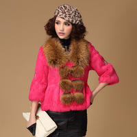 Fur coat 2013 three quarter sleeve raccoon fur rabbit fur female fur coat a-619