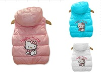 2013 new 3colors, 4size/1lot !hello kitty girls vest Children's coat, baby girls clothes.90-120 Children's vest,free shipping