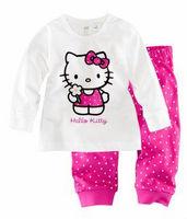 2013 Hot Selling Kids Pajamas Autumn Cotton Long Sleeve Homewear baby girls hello kitty sleepwear Baby Children nightgown wear