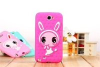 2013 Wholesale Hotselling Soft silicone lovely  cute shy rabbit colorful Back cover case for samsung N7100 free shipping