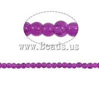 Free shipping!!!Crackle Glass Beads,promotion, Round, purple, 4mm, Hole:Approx 1.5mm, Length:31 Inch, 220PCs/Strand