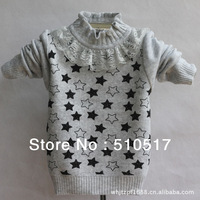 2014 new winter Baby cardigan Girls Bow diamond woollen sweater Autumn Kids Clothing FREE SHIPPING