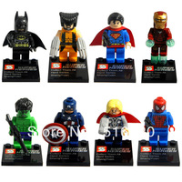 Super Heroes 8pcs/lot The Avengers Iron Man Hulk Batman Wolverine Thor Building Blocks Sets Minifigure Legoland DIY Bricks Toys