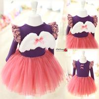 Free shipping Children clothing  luxury dress  child long-sleeve angel wing  tutu dress girl dress girl lace