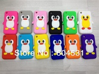 Free shipping Hot sales 200Pcs/lot 12 color mix color  3D Cute Penguin Style Silicone Case For Apple iPhone3G 3GS