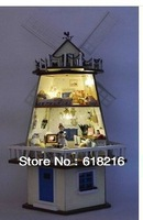 Free Shipping Kids Educational wooden toys 3D puzzle doll house DIY  With LED Lamps wooden doll house Rotating windmill W005