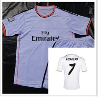 A+++ 2013-2014 New Kids Thai Real Madrid Ronaldo Children Soccer Jersey Suit Brand Cheap Kids Soccer Jersey Kits