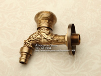 Vintage Brass Artistic Dargon Design Wall Mount Garden Laundry Mop Sink Washing Machine Faucet Tap 2610061
