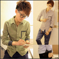 2013 Fashion Pocket Polka Dot Block Man Shirt,Men Casual Shirts Green Gray Blue British Design