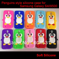 200Pcs Mix color Free shipping New 3D Cute Penguin Style SiliconeCase Cover For Samsung S4 i9500