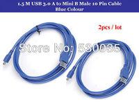 2pcs / lot  USB 3.0 A to Mini B Male 10 Pin Extension Cable Blue Colour 1.5 M, Free Shipping
