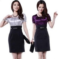 new 2013 fashion silk dress women candy color patchwork plus size ladies wear pencil dress short-sleeve knee-length dress M-XXL