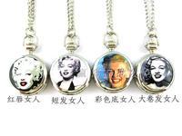 2014 New Monroe series of white steel pocket watch enamel necklace rahb185  Free Shipping