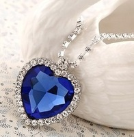 noble luxury The heart of the ocean Blue crystal pendant necklaces Free shipping!!