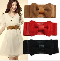 2013 Korean fashion decorate women belts bowknot knit wide dress waist solid ladies thin slim Elasticity blet wholesale