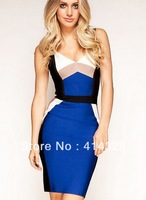 free shipping new arrival women sexy spaghetti strap multicolor rayon bandage dress sheath short backless evening dress blue