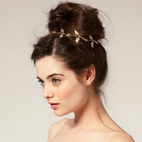 Fashion Girl Christmas gift Victoria Beckham same design 2-leaf&5-leaf golden head chain for the hair jewelry headpiece headband
