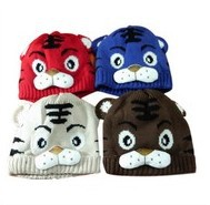 6pcs/lot Autumn and winter New Arrival Children tiger hat cartoon baby crochet beanie infant knitted linecaps toddler cap Kids