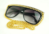 Free shipping 2013 New 100% UV resistance material Vintage style Lady gaga vampish belt male female chain sunglasses 439