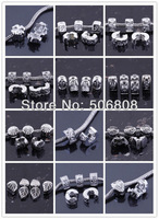 50pcs/lot Mixed Style 18KGP Clip/Locks Stopper European Loose Spacer Beads Fit Charms Bracelet Jewelry Beads