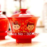 Fashion wedding supplies  red bone china  mug set gaiwan wedding tea set gift free shipping