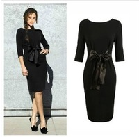 Free Shipping!2013 Victoria Beckhams European and American Temperament Fashion Slim Knitted Half Sleeve Long Skinny Dress H6131