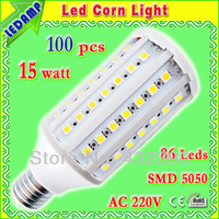 Free shipping ac 220v e27 corn led bulb 15w  in 86 leds 5050 smd lampadas de led 360 degree warm / white light